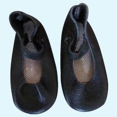 Vintage Black Leather Doll Shoes
