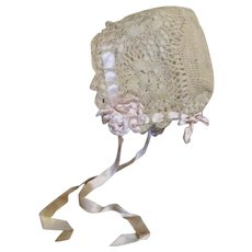 Stunning Antique Bonnet for Your Bisque Head Baby Doll
