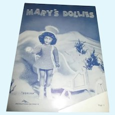 Vintage Mary Hoyer Doll Clothes Pattern Booklet