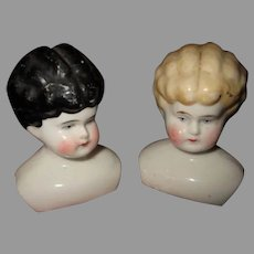 Two Antique China Doll Heads