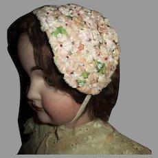 Pretty Vintage Floral Doll Bonnet