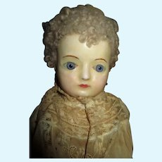 Lovely Antique Wax Over Paper Mache Head Doll