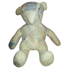 Vintage Teddy Bear Made from Antique Quilt