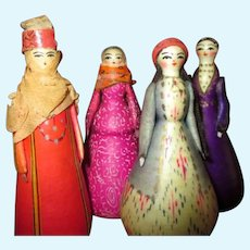 Four Small Vintage Russian Wooden Dolls