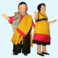 """Two 3.75"""" All Bisque Miniature Dolls"""