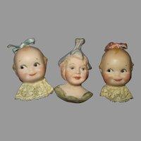 Three Vintage Doll Faced Pins