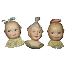 Three Vintage Doll Faced Pins