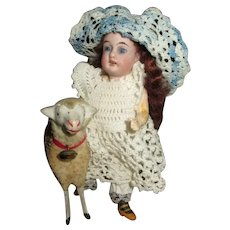 "Adorable Antique 5.5"" Bisque Head Doll with Sheep"