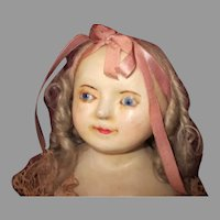 Antique English Wax Over Paper Mache Head Doll