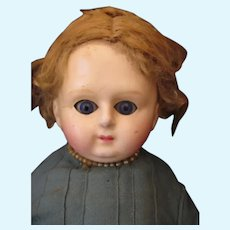 Lovely Antique Wax Over Paper Mache Head Doll - Serene Look
