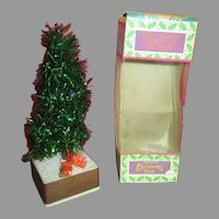 Vintage Doll House Miniature Christmas Tree with Battery Operated Lights
