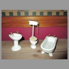 Vintage Porcelain Doll House Bathroom Set