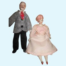 Vintage Doll House Man and Woman