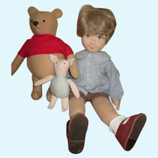 Artist Made Pooh, Piglet and Christopher Robin Dolls