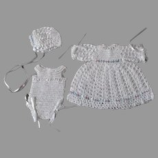 Vintage 3 Piece Crochet Doll Outfit
