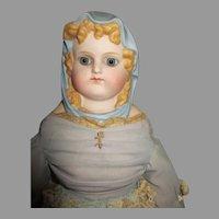 Beautiful Artist Blue Scarf Lady Doll