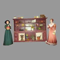 Miniature Flower Shop Case with two Dolls