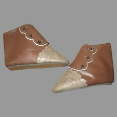 Two Toned Leather Doll Boots