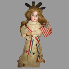 Miss Liberty Bisque Head Candy Container