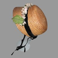 Stunning Straw Bonnet for Your Antique Doll