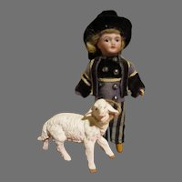 "Adorable 5"" French Bisque Head Doll with Sheep"