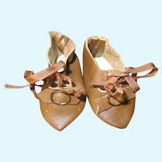 Vintage Cream Colored Leather Doll Shoes