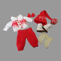 Adorable Red and White Knit Winter Outfit for Your Doll