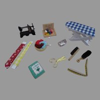 Miniature Doll House Sewing Room Items