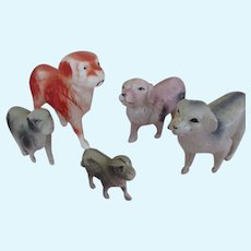 Group of 4 Miniature Celluloid Dogs for your Doll's Companions