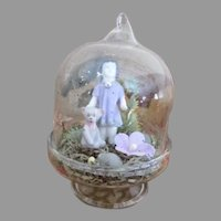 """Sweet 3"""" Diorama Dome with Miniature China Doll Underneath"""