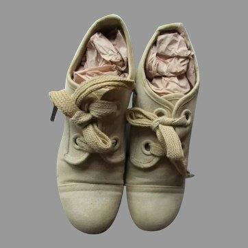 Vintage Linen Child Shoes for Your Antique Doll