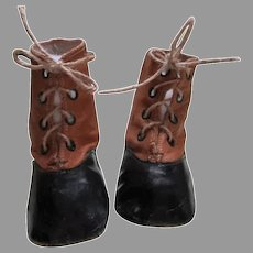 Adorable Two Tone Leather Shoes for Your Antique Doll or Teddy Bear