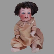 "Adorable 13"" Bisque Head Baby Doll on Bent Jointed Compo Body"