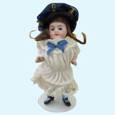 Adorable All Bisque Antique Miniature Doll House Doll