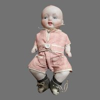 """Darling 4.5"""" All Bisque Nippon Baby Doll with Bent Limbs"""
