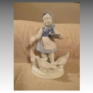 Sweet Figurine of Girl Statue Feeding Chickens