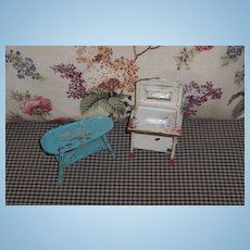 Early Metal Doll House Furniture ~ Original Paint ~ Shabby Chic