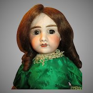 Antique French Walking, Head Turning Bisque Head Doll