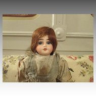 Antique French Bisque Head Doll with Human Hair Wig