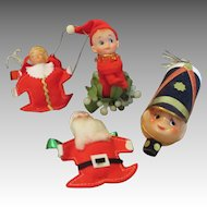 Group of 5 Vintage Christmas Ornaments and Figures