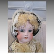 Black & White Feather Hat for Your Antique Doll