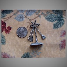Nice Pewter Doll House Fire Place Tools