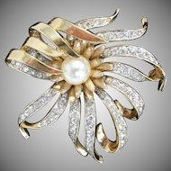 Outstanding Boucher Stylized Brooch with Rhinestones and Faux Pearl