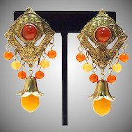 Stylish Ethnic Chandelier Earrings in Faux Amber and Carnelian