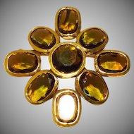 Byzantine Style Maltese Cross Brooch & Pendant in Topaz Glass