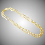 Classic Double Strand Glass Pearl Matinee Necklace
