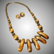 Exotic Faux Copper Necklace and Earring Set