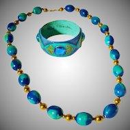 VERY RARE Fred Sexton Nube Blanco Papier Mache Bangle Bracelet and Necklace