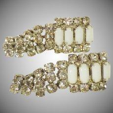 Rhinestone and Milk Glass Dangle Earrings