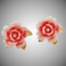 Designer Rose Petal Earrings with Crystal